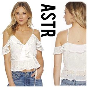 NEW 🌸 ASTR the label April Eyelet Ruffle Wrap Top